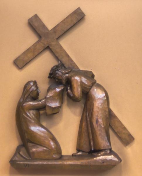 6. Station: Veronika reicht Jesus das Schweißtuch