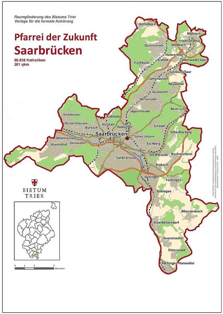 Karte der Pfarrei der Zukunft Saarbrücken