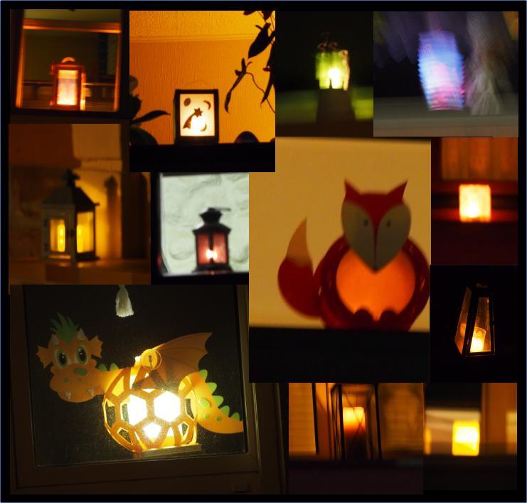 Laternenlichter in vielen Fenstern