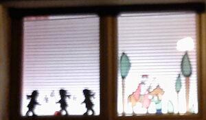 Fenster mit Martin auf dem Pferd